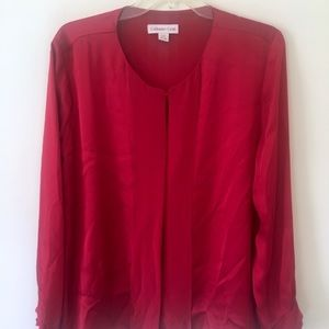 {Coldwater Creek} Silky Red Holiday Christmas Top
